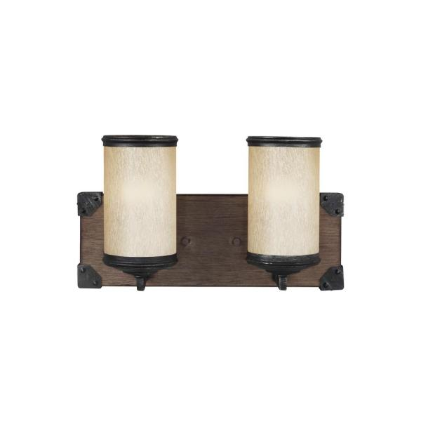 Dunning 14 in. W. 2-Light Weathered Gray and Distressed Oak Vanity Light with LED Bulbs