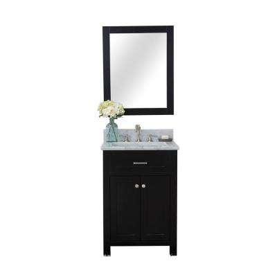 Norwalk 24 in. W x 34.2 in. H x 22 in. D Vanity in Espresso with Marble Vanity Top in White with White Basin