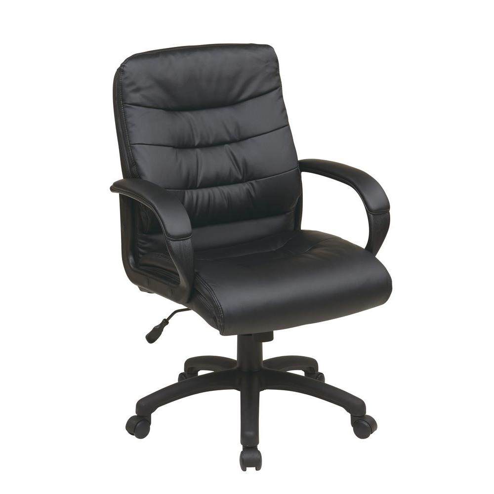 Work Smart Black Faux Leather Mid Back Executive Office