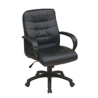 Black Faux Leather Mid Back Executive Office Chair