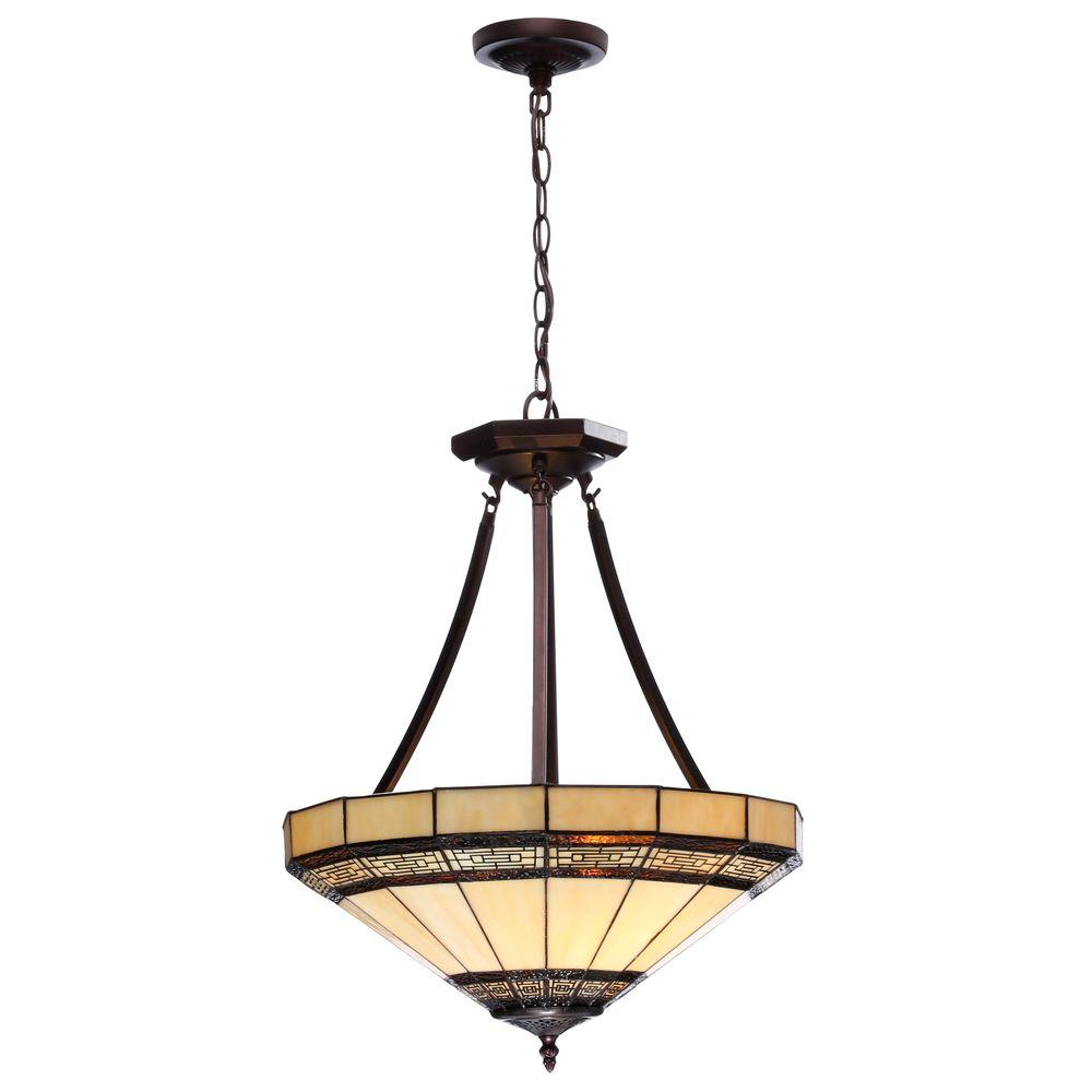 edd1b2b3c Hampton Bay Addison 2-Light Oil-Rubbed Bronze Pendant with Tiffany Style  Stained Glass
