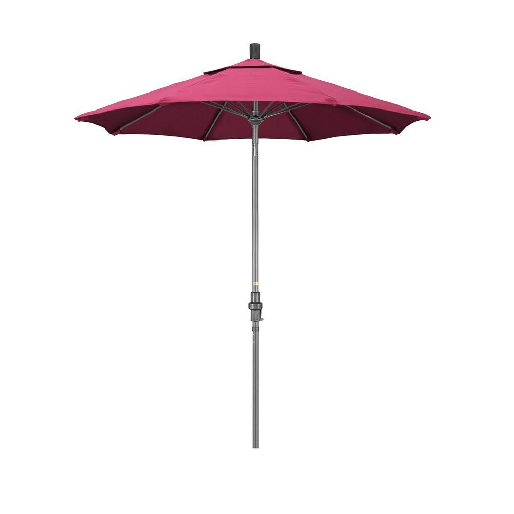 7.5 ft. Grey Aluminum Market Collar Tilt Crank Lift Patio Umbrella in Hot Pink Sunbrella