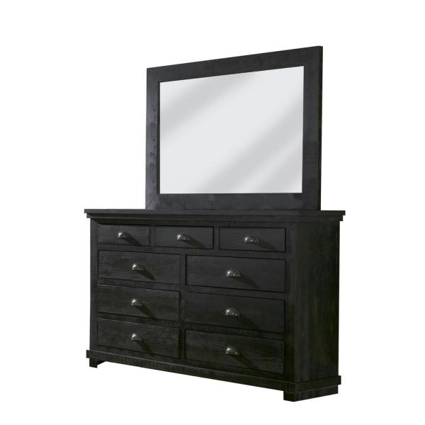 Willow 9-Drawer Distressed Black Dresser with Mirror