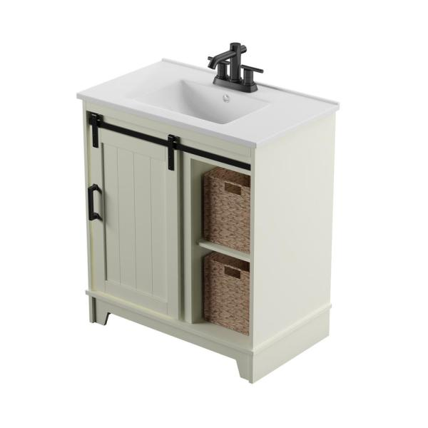 Twin Star Home 30 In D X 18 In W X 34 In Barn Door Bath Vanity In White W Vanity Top In White And White Basin 30bv34004 T401 The Home Depot