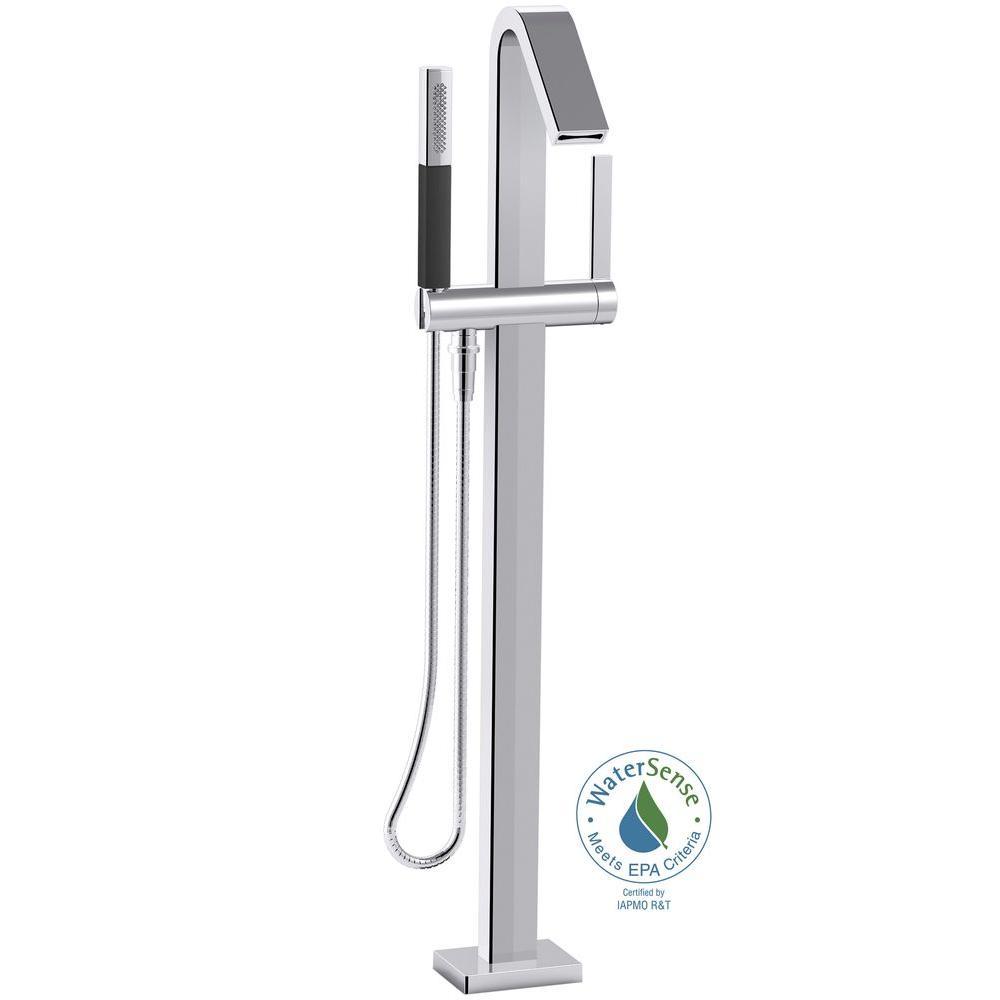 KOHLER Loure 1-Handle Floor Mount Bath Filler with Hand Shower in Polished Chrome