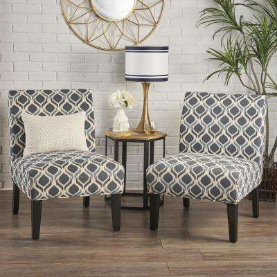 Kassi Navy and Blue Geometric-Patterned Fabric Accent Chairs (Set of 2)