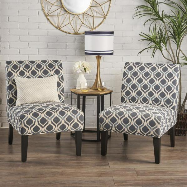 Noble House Kassi Navy and Blue Geometric-Patterned Fabric Accent Chairs (Set of 2)