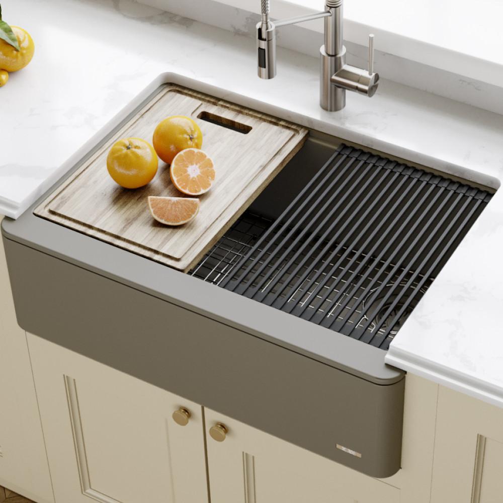 KRAUS Bellucci Farmhouse/Apron-Front Granite/Quartz Composite 30 in. Single  Bowl Kitchen Sink with Cutting Board in Brown