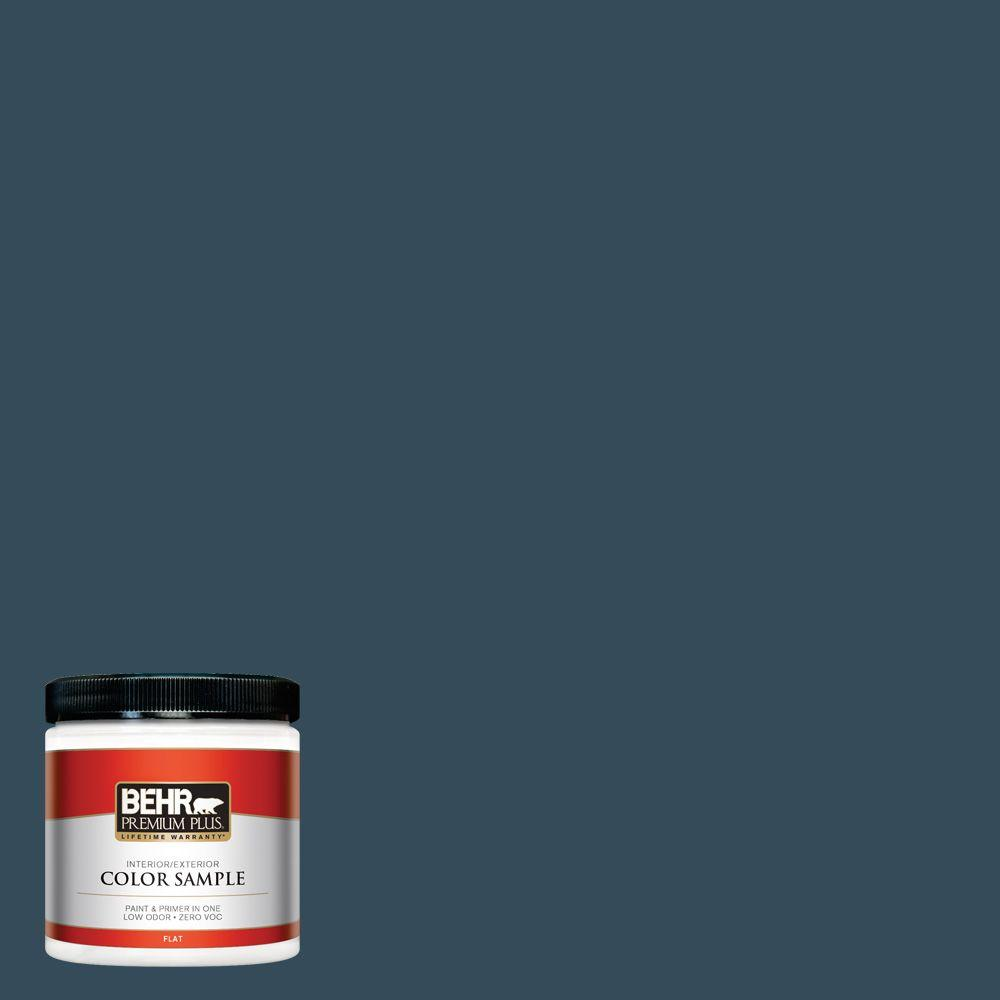 BEHR Premium Plus 8 oz. #HDC-CL-28 Nocturne Blue Flat Zero VOC Interior/Exterior Paint and Primer in One Sample