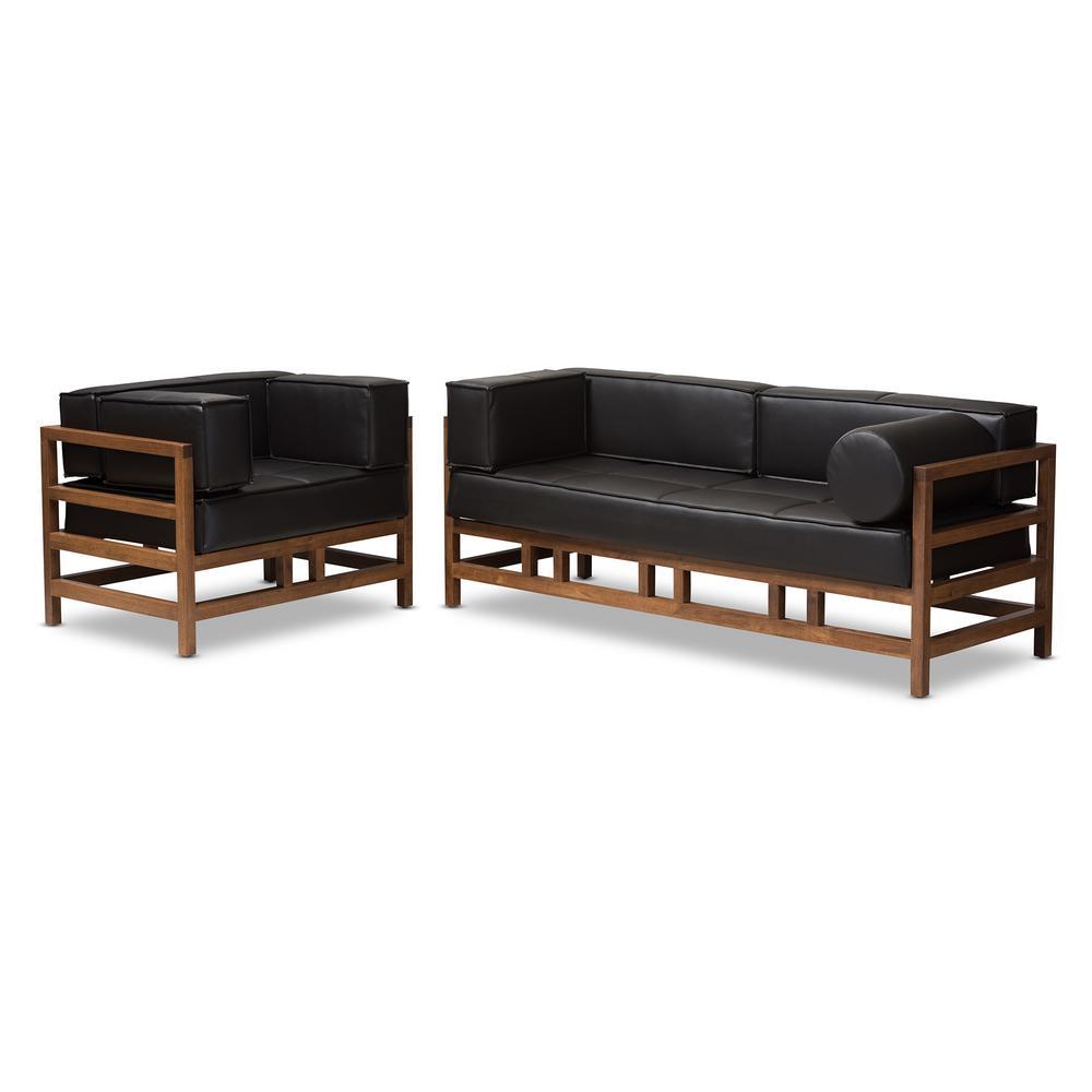Shaw 2-Piece Black Living Room Set