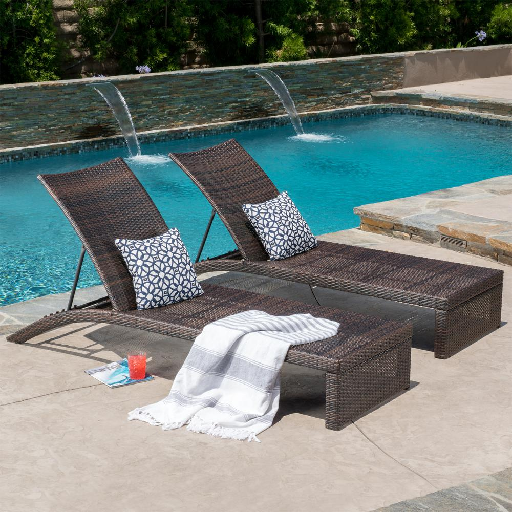 Le House Lani Multi Brown 2 Piece Wicker Outdoor Chaise Lounge