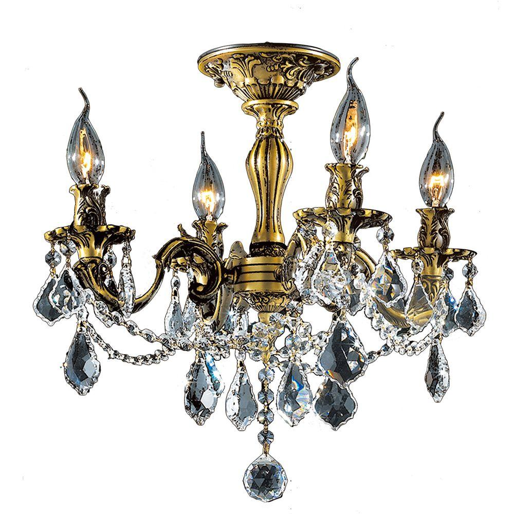 Worldwide Lighting Solid Brass 4 Light Antique Bronze and Crystal Ceiling Light