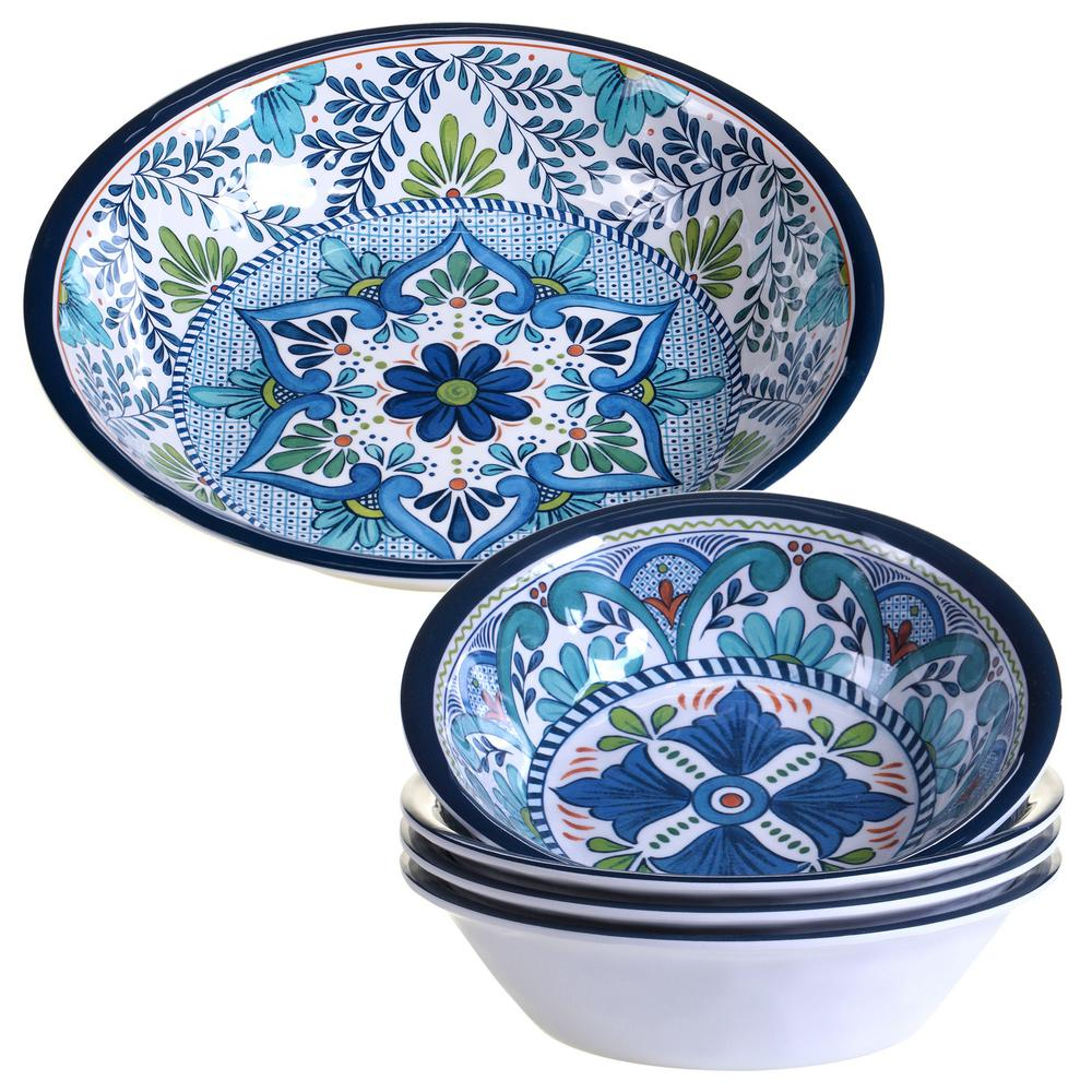Talavera 5-Piece Blue Salad and Serving Set