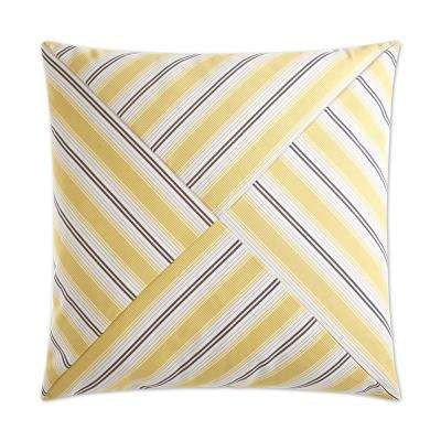 Ottoman Stripe Yellow Feather Down 24 in. x 24 in. Standard Decorative Throw Pillow