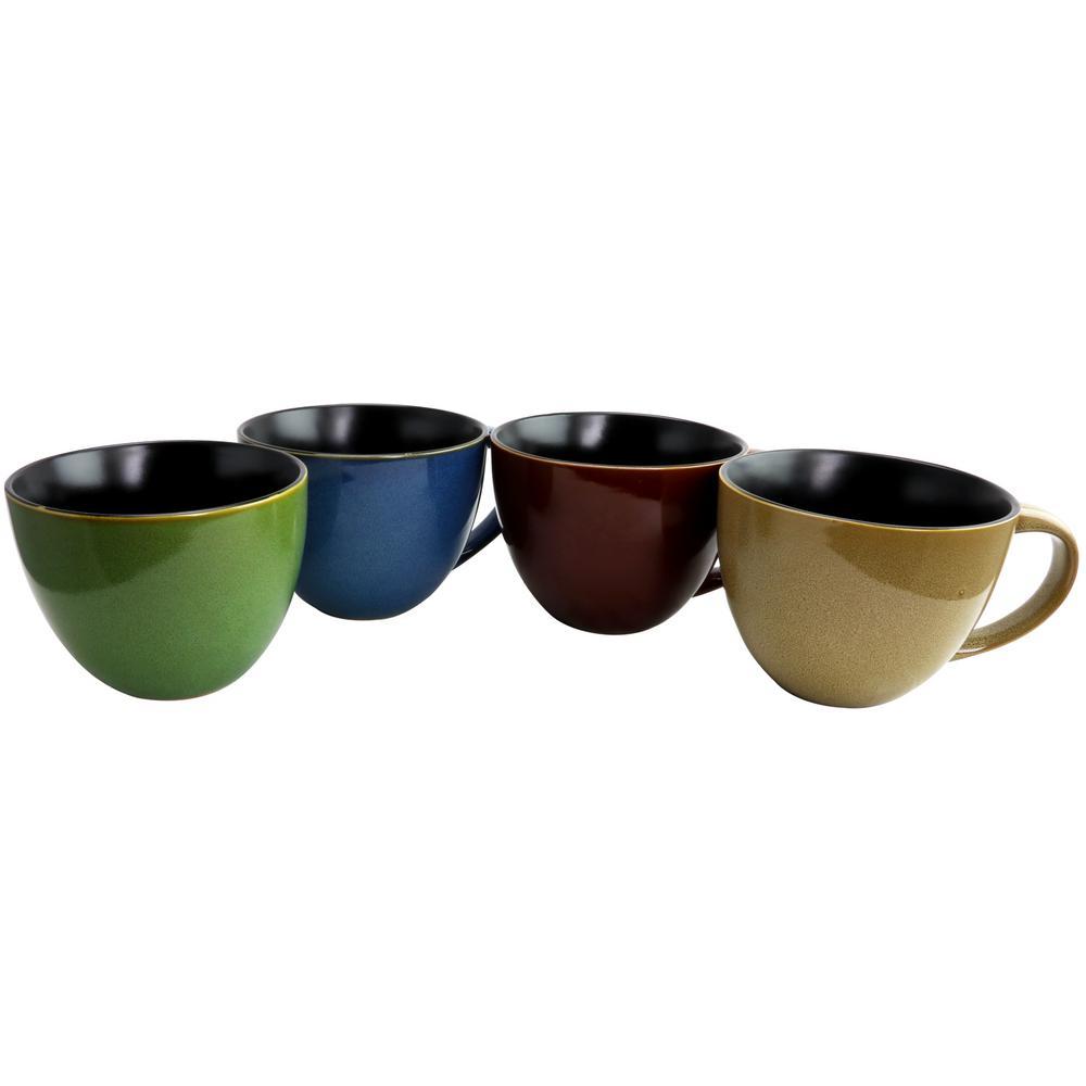 Earthly Jewels 4-Piece Assorted Color 18.5 oz. Latte Mug Set