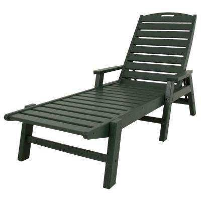 Nautical Green Stackable Plastic Outdoor Patio Chaise Lounge