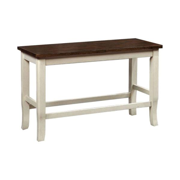 24 in. White and Cherry Counter Height Bench