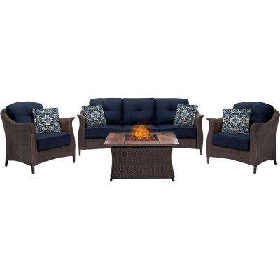 Gramercy 4-Piece Wicker Patio Fire Pit Conversation Set with Navy Blue Cushions