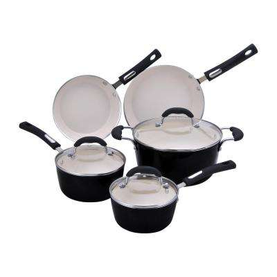 8-Piece Black Porcelain Enamel Cookware Set with Lids