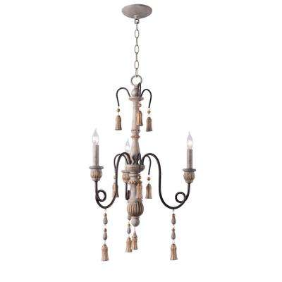 Alexandra 3-Light White Chandelier