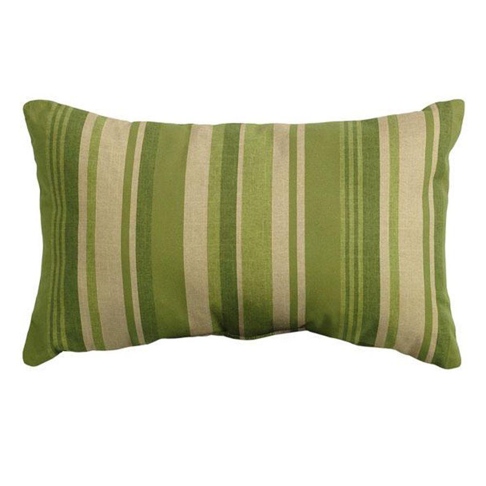 Breezeway Stripe Green Rectangular Outdoor Throw Pillow