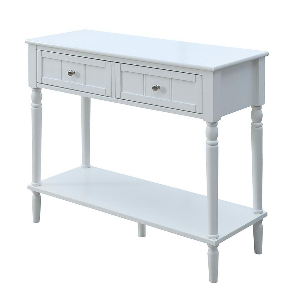 Convenience concepts french country white 2 drawer hall for White foyer table
