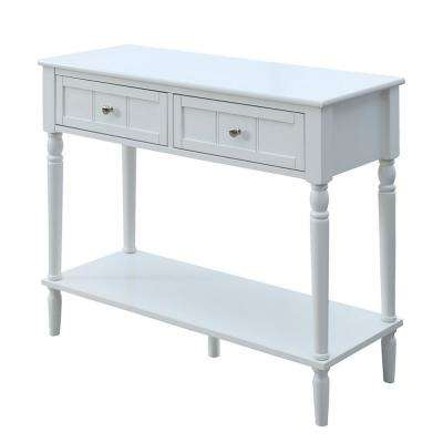 Attractive French Country White 2 Drawer Hall Table