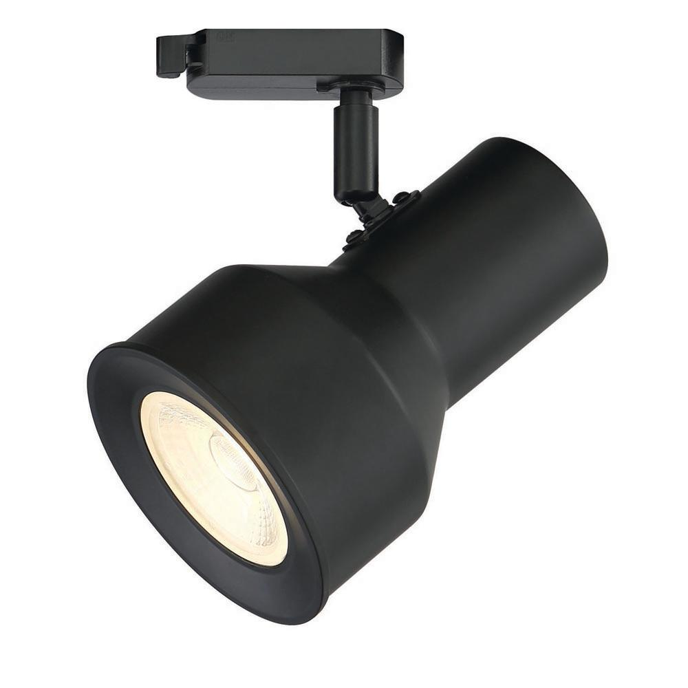 Large Solid Black Step Cylinder Integrated LED Track Lighting Head