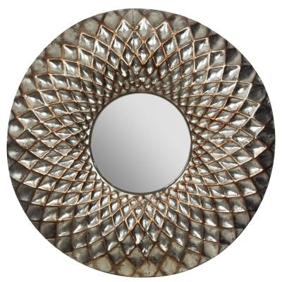 Hammered Lattice Round Silver Decorative Mirror