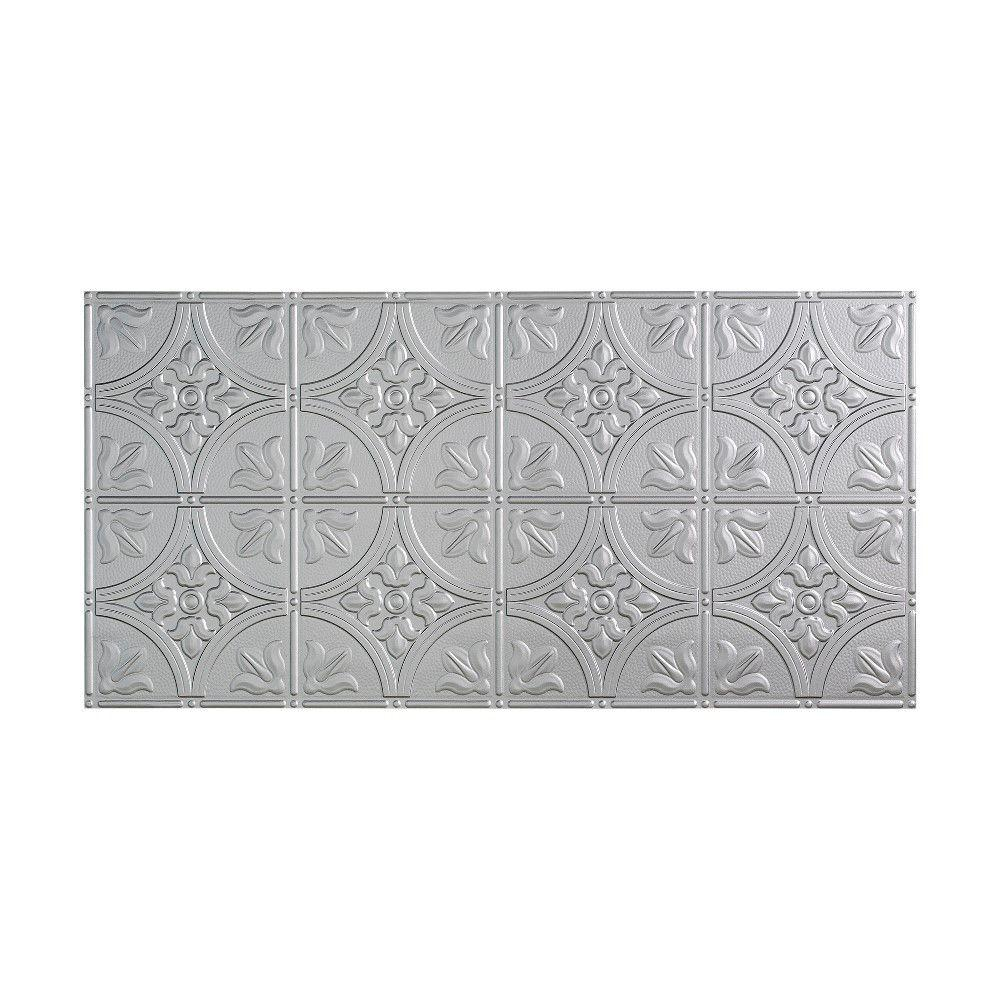 Fasade Traditional 2 - 2 ft. x 4 ft. Glue-up Ceiling Tile in Argent Silver