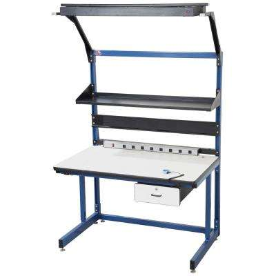 60 in. x 30 in. Cantilever Work Bench with Plastic Laminate Surface in Blue, Bench in a Box
