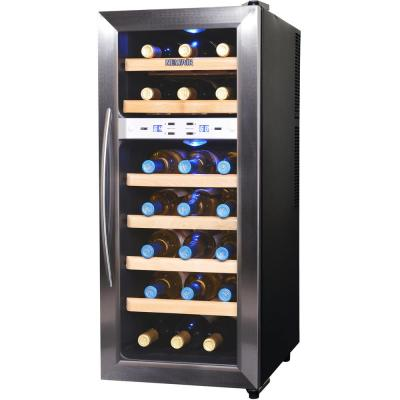 Quiet 21 Bottle Freestanding Dual Zone Wine Fridge with Stainless Steel and Beech Wood Finishes