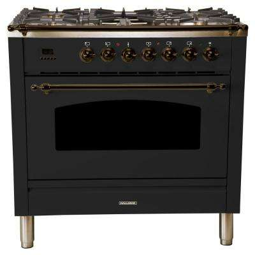 36 in. 3.55 cu. ft. Single Oven Dual Fuel Italian Range True Convection,5 Burners, LP Gas, Bronze Trim/Glossy Black