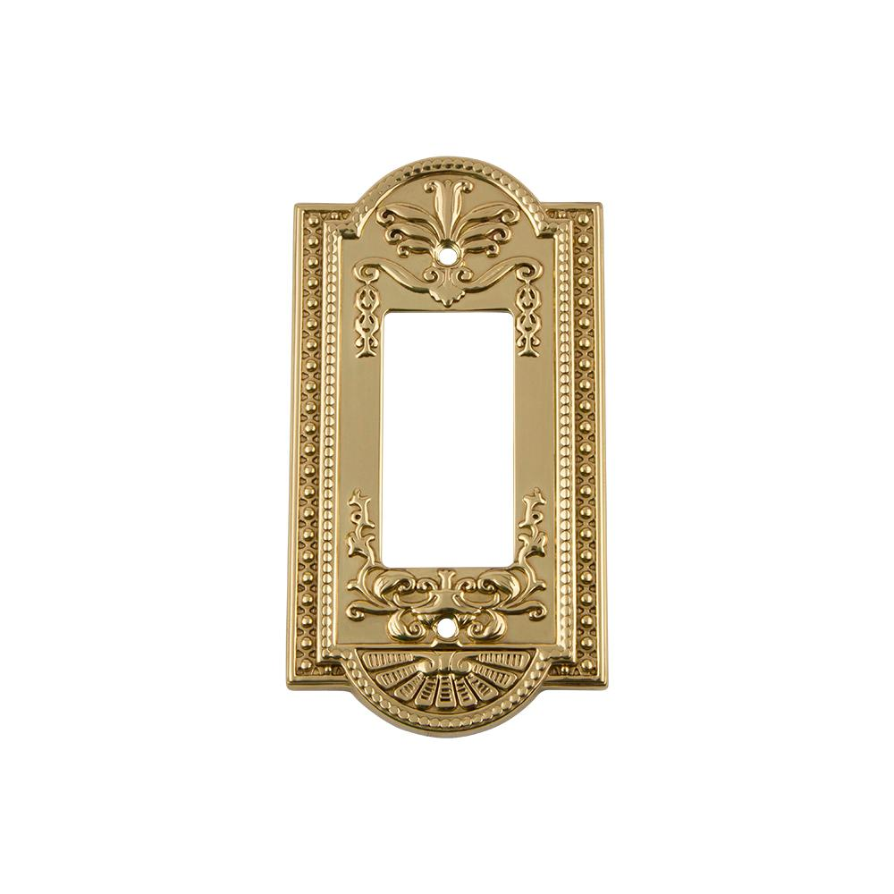 Meadows Switch Plate with Single Rocker in Unlacquered Brass