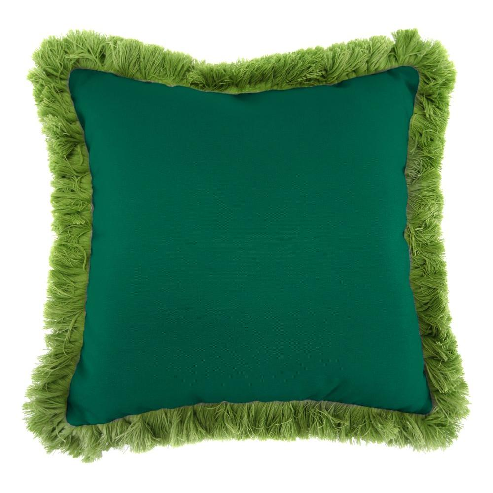 Jordan Manufacturing Sunbrella Canvas Forest Green Square Outdoor Throw Pillow with Gingko Fringe
