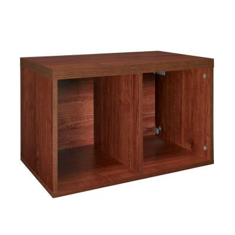 15 in. H x 24 in. W x 14 in. D Dark Cherry Wood Look 2-Cube Storage Organizer