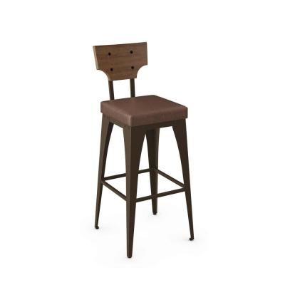 Rally 26 in. Brown Faux Leather / Brown Wood / Brown Metal Counter Stool