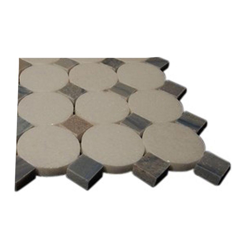 Splashback Tile Orbit Satellite Pattern Marble Mosaic Floor and Wall Tile - 3 in. x 6 in. x 8 mm Sample