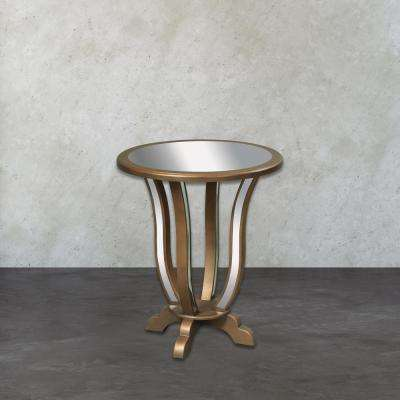 Manama Gold Leaf Mirrored Top End Table