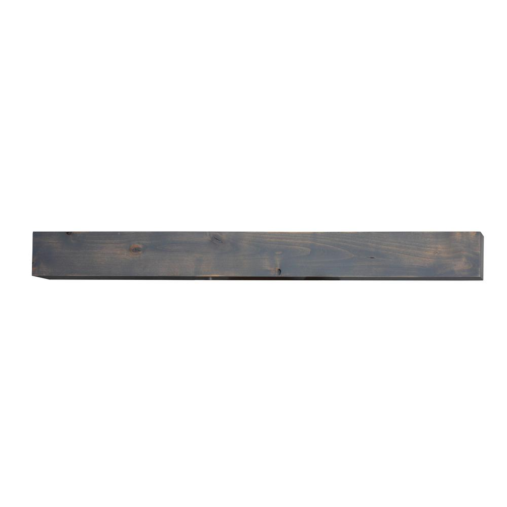 BjornWoodworks Bjorn Woodworks 72 in. x 6 in. Driftwood Wood Cap-Shelf Mantel, Driftwood Grey