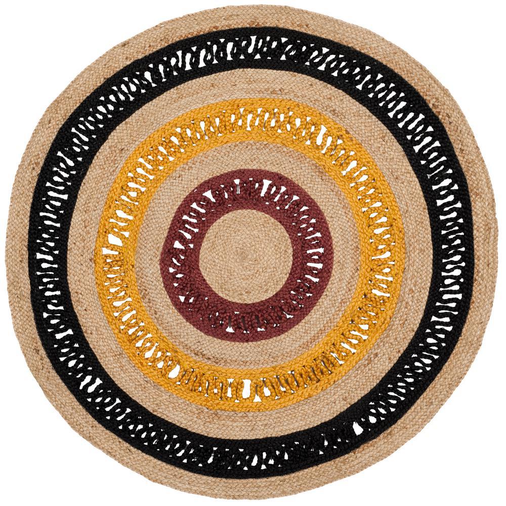 Safavieh Natural Fiber Black Beige 8 Ft