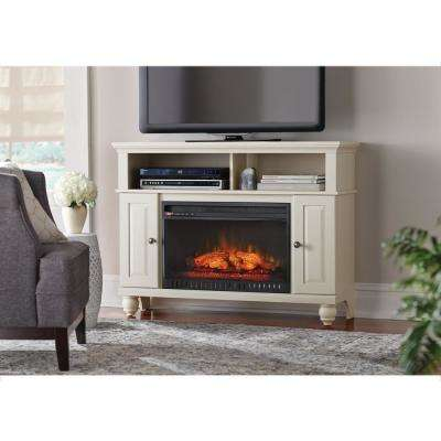 Ashurst 46 in. TV Stand Infrared Electric Fireplace in Washed Linen