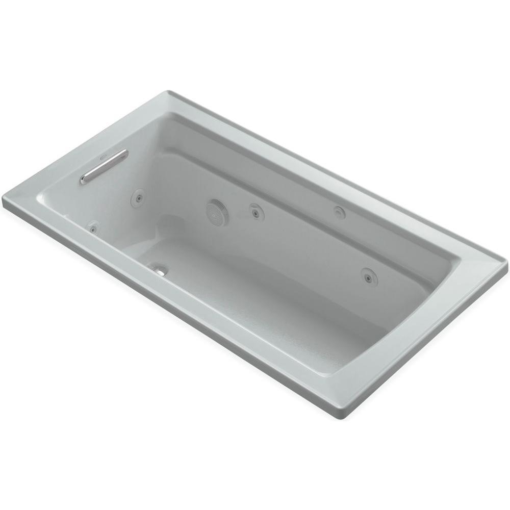 KOHLER Archer 5 ft. Acrylic Rectangular Drop-in Whirlpool Bathtub in Ice Grey