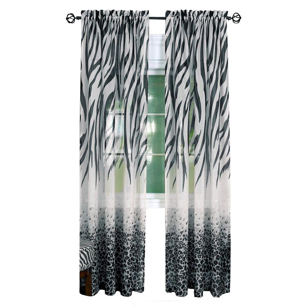 Achim Semi-Opaque Black Kenya Curtain Panel - 50 inch W x 63 inch L by Achim