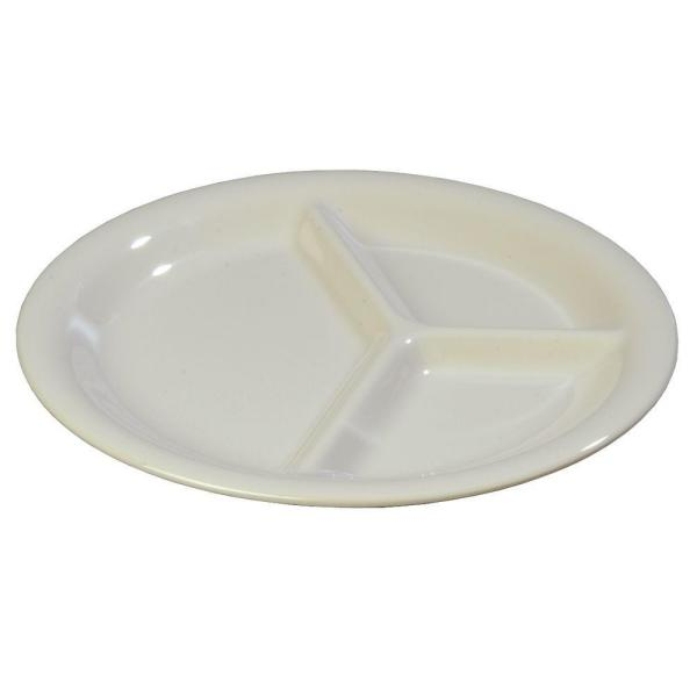 Carlisle 10.45 in. Diameter Melamine Narrow Rim 3-Compartment Dinner Plate in