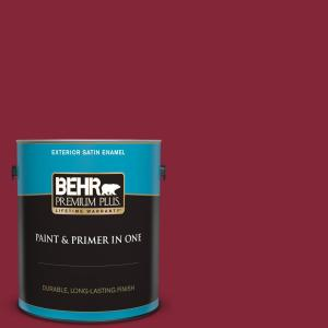 1 gal. #M140-7 Dark Crimson Satin Enamel Exterior Paint and Primer in One