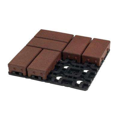 4 in. x 8 in. Redwood Composite Permeable Paver Grid System (8 Pavers and 1 Grid)