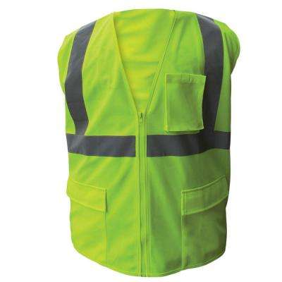 Size 2X-Large Lime ANSI Class 2 Fire Retardant Poly Mesh Safety Vest