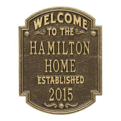 Heritage Welcome Square Standard Wall 3-Line Anniversary Personalized Plaque in Antique Brass
