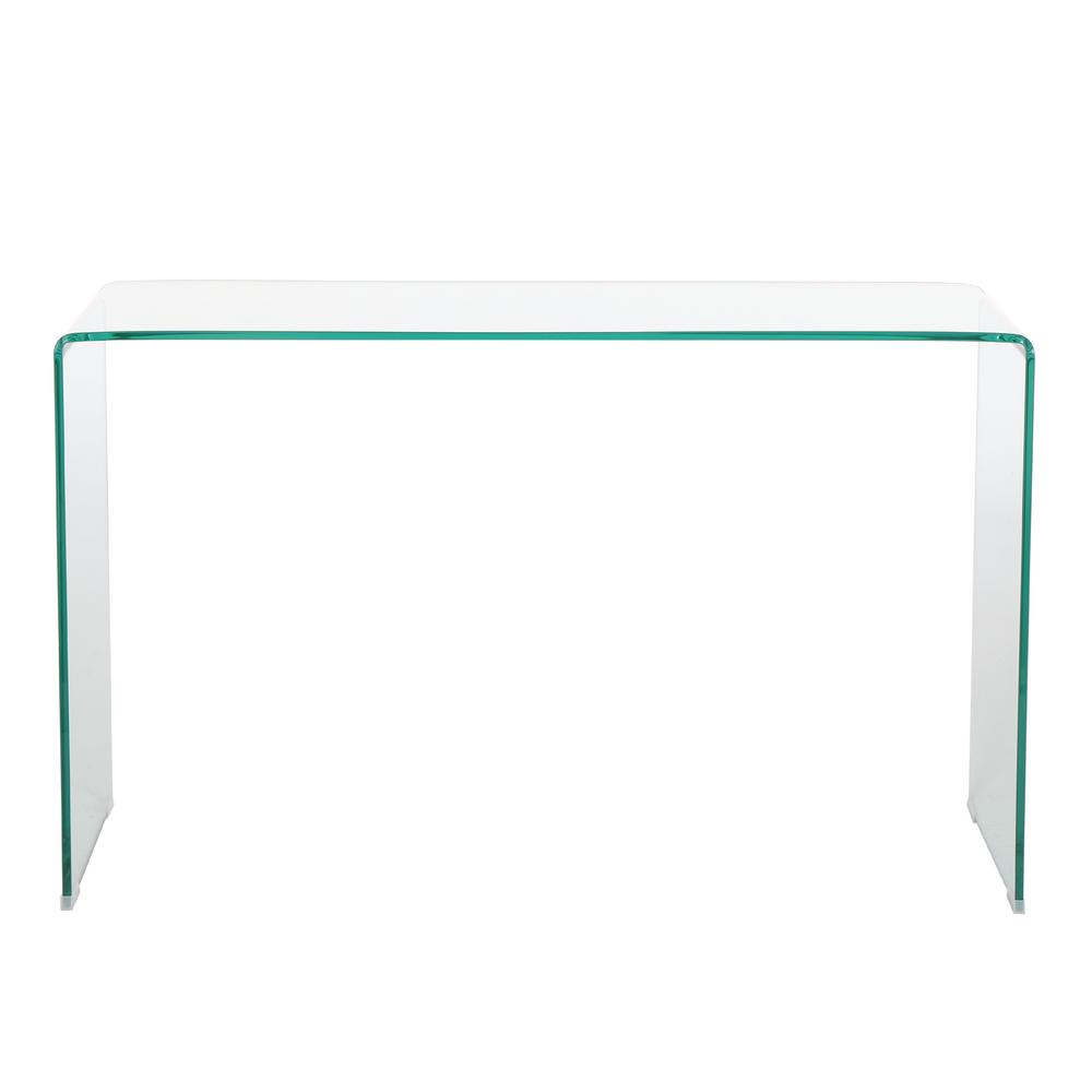Noble house cadyn clear tempered glass console table
